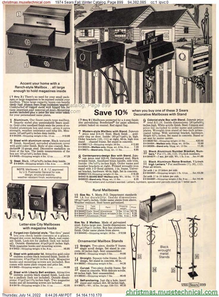 1974 Sears Fall Winter Catalog, Page 899