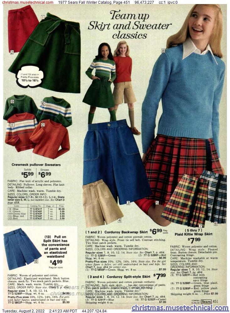 1977 Sears Fall Winter Catalog, Page 451