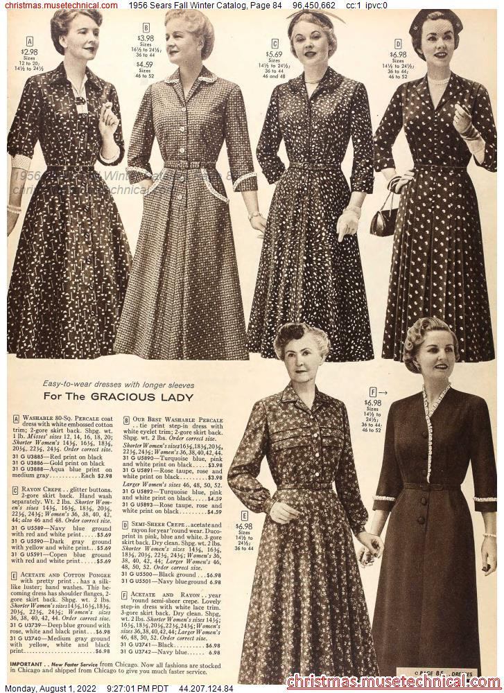 1956 Sears Fall Winter Catalog, Page 84