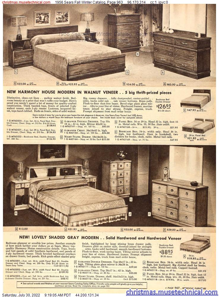 1956 Sears Fall Winter Catalog, Page 963