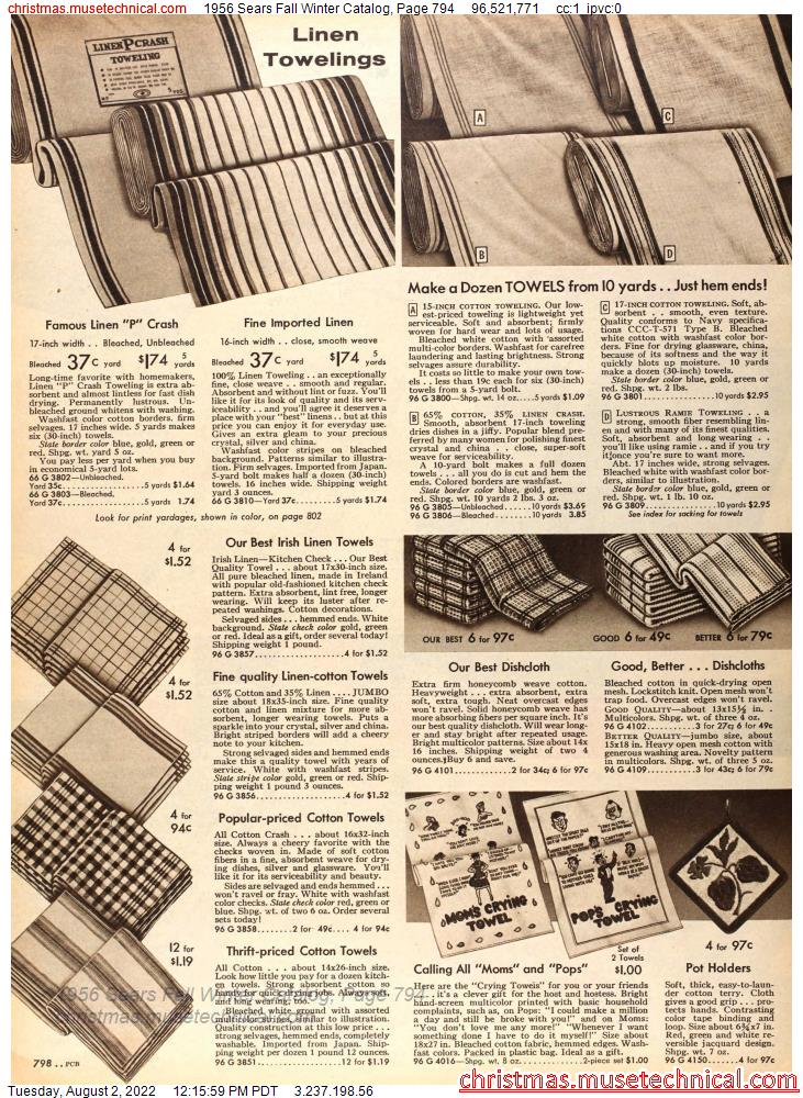 1956 Sears Fall Winter Catalog, Page 794