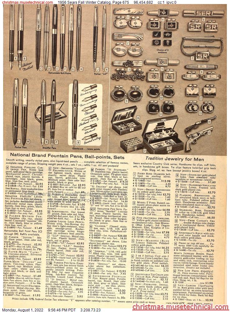 1956 Sears Fall Winter Catalog, Page 675