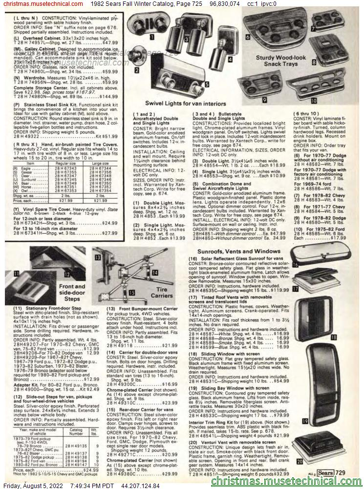 1982 Sears Fall Winter Catalog, Page 725