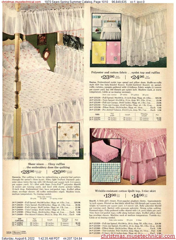 1970 Sears Spring Summer Catalog, Page 1010