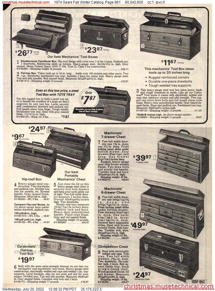 1974 Sears Fall Winter Catalog, Page 861