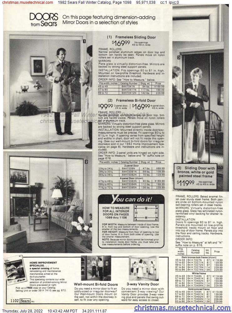 1982 Sears Fall Winter Catalog, Page 1098