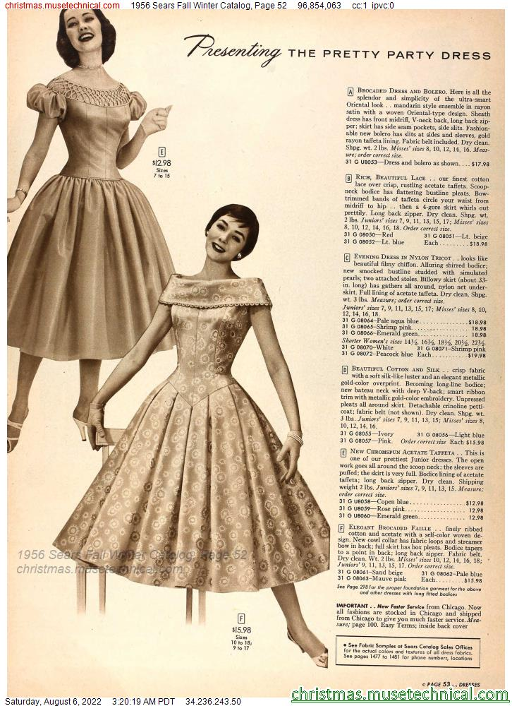 1956 Sears Fall Winter Catalog, Page 52