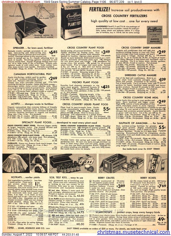 1949 Sears Spring Summer Catalog, Page 1106