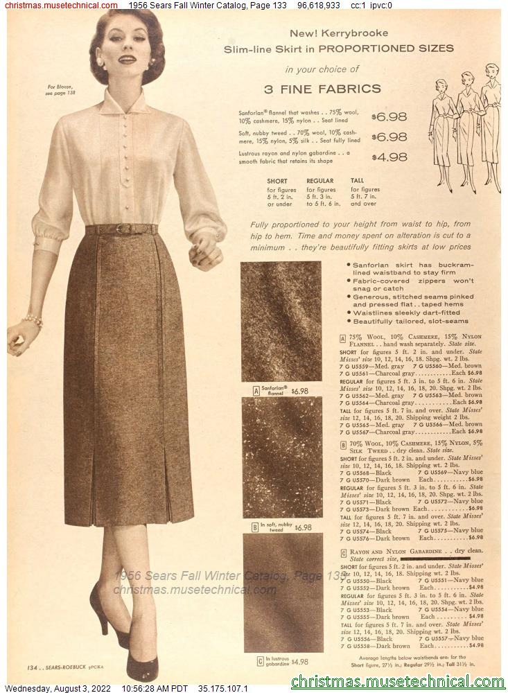 1956 Sears Fall Winter Catalog, Page 133