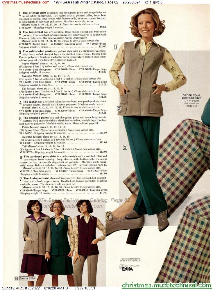 1974 Sears Fall Winter Catalog, Page 62