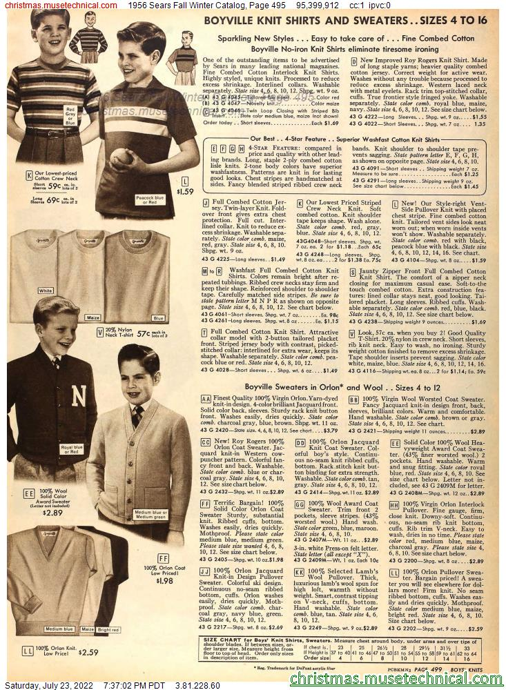 1956 Sears Fall Winter Catalog, Page 495