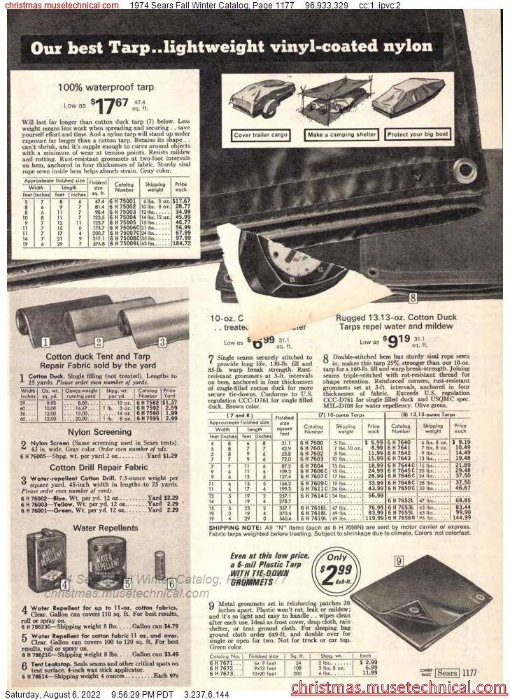 1974 Sears Fall Winter Catalog, Page 1177