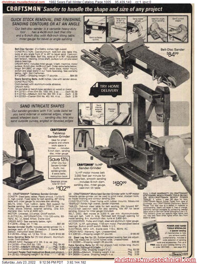 1982 Sears Fall Winter Catalog, Page 1005
