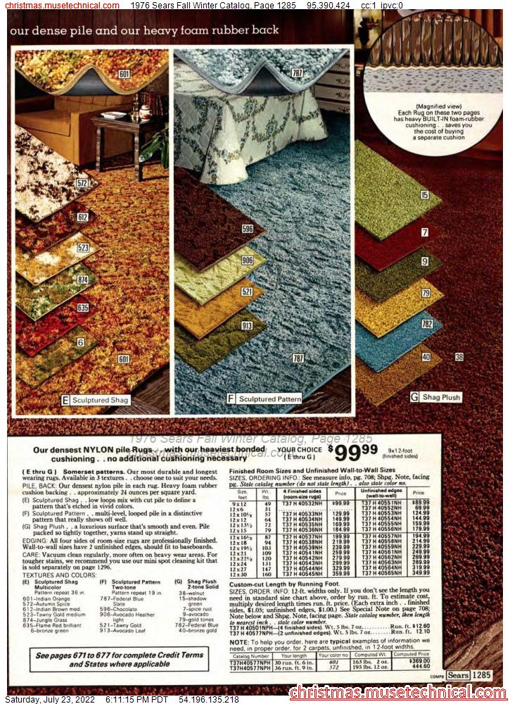 1976 Sears Fall Winter Catalog, Page 1285