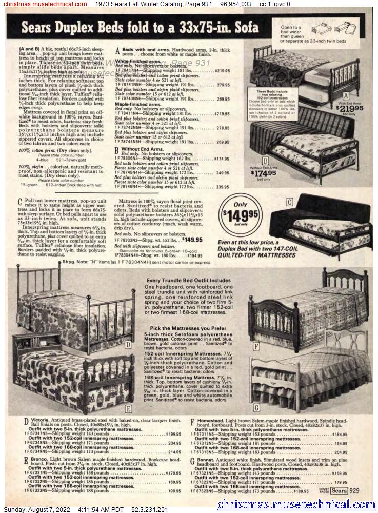 1973 Sears Fall Winter Catalog, Page 931