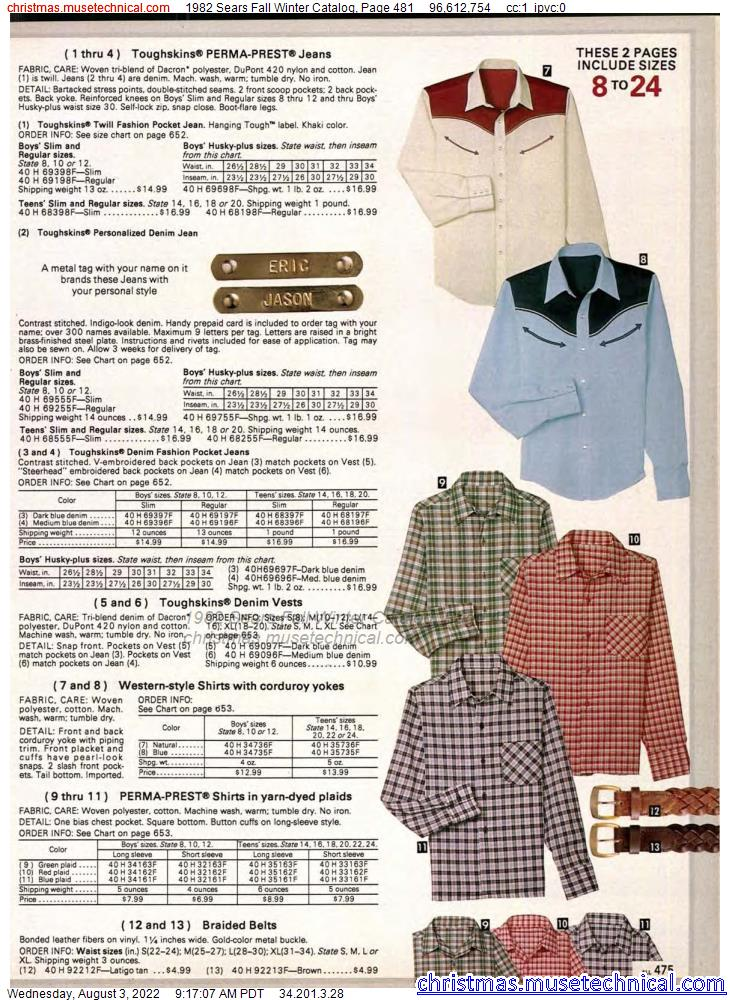 1982 Sears Fall Winter Catalog, Page 481