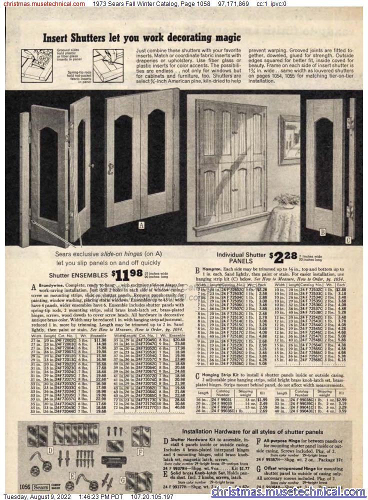 1973 Sears Fall Winter Catalog, Page 1058