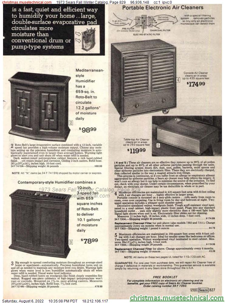 1973 Sears Fall Winter Catalog, Page 829