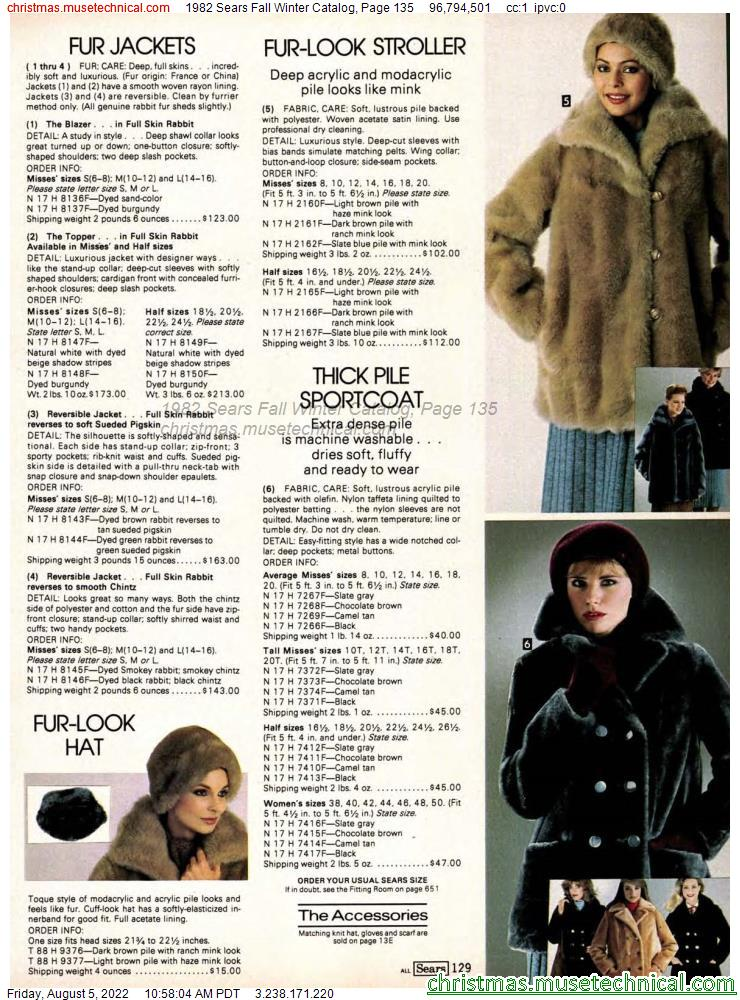 1982 Sears Fall Winter Catalog, Page 135