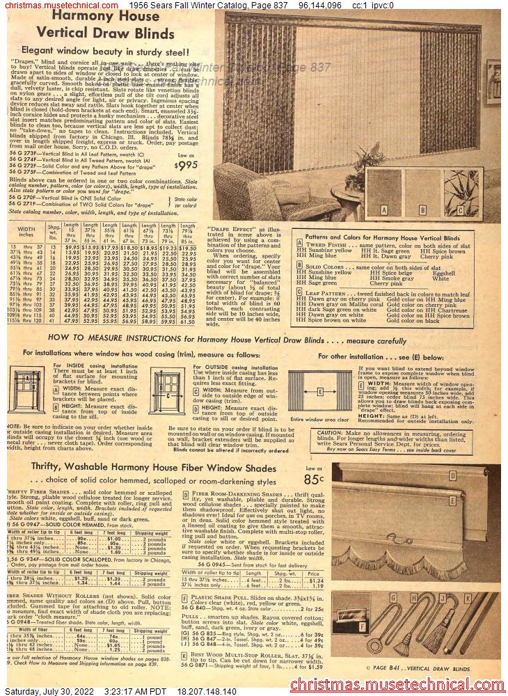 1956 Sears Fall Winter Catalog, Page 837