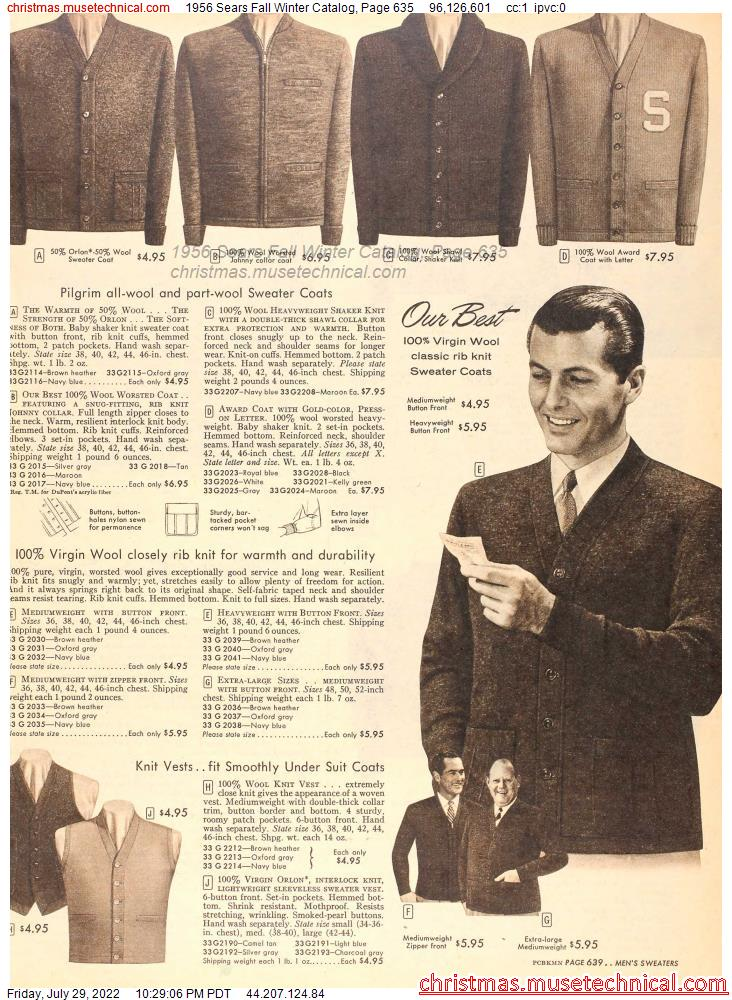 1956 Sears Fall Winter Catalog, Page 635