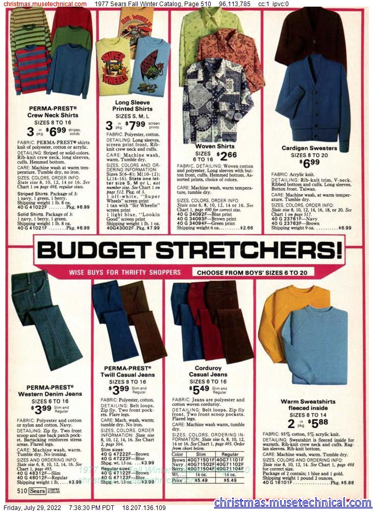 1977 Sears Fall Winter Catalog, Page 510
