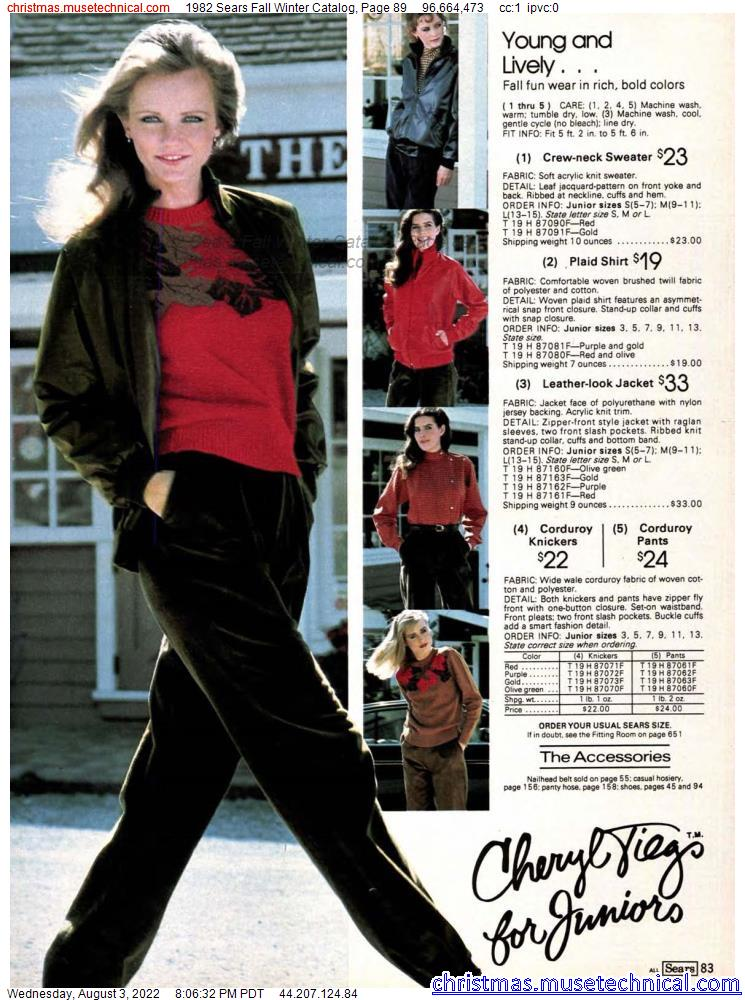 1982 Sears Fall Winter Catalog, Page 89