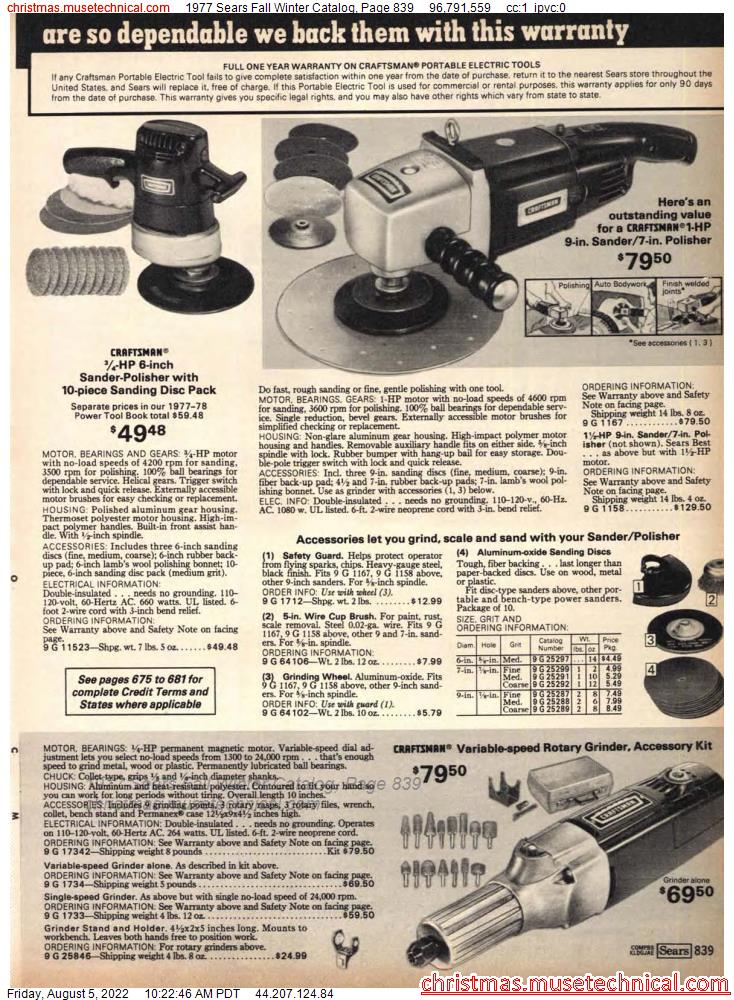 1977 Sears Fall Winter Catalog, Page 839