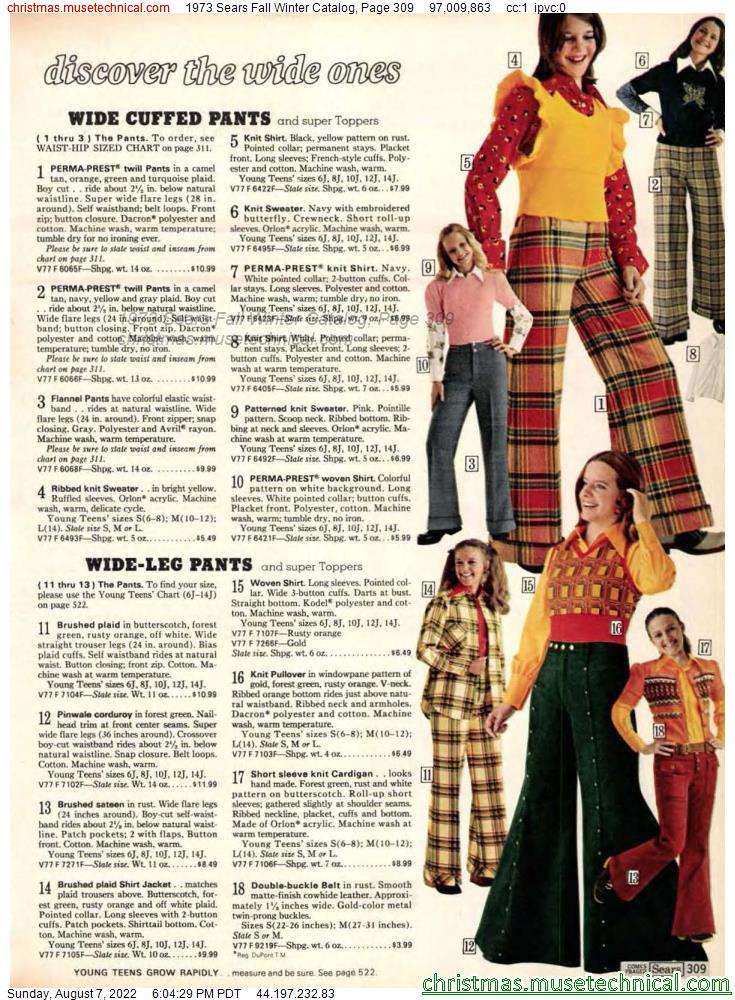 1973 Sears Fall Winter Catalog, Page 309