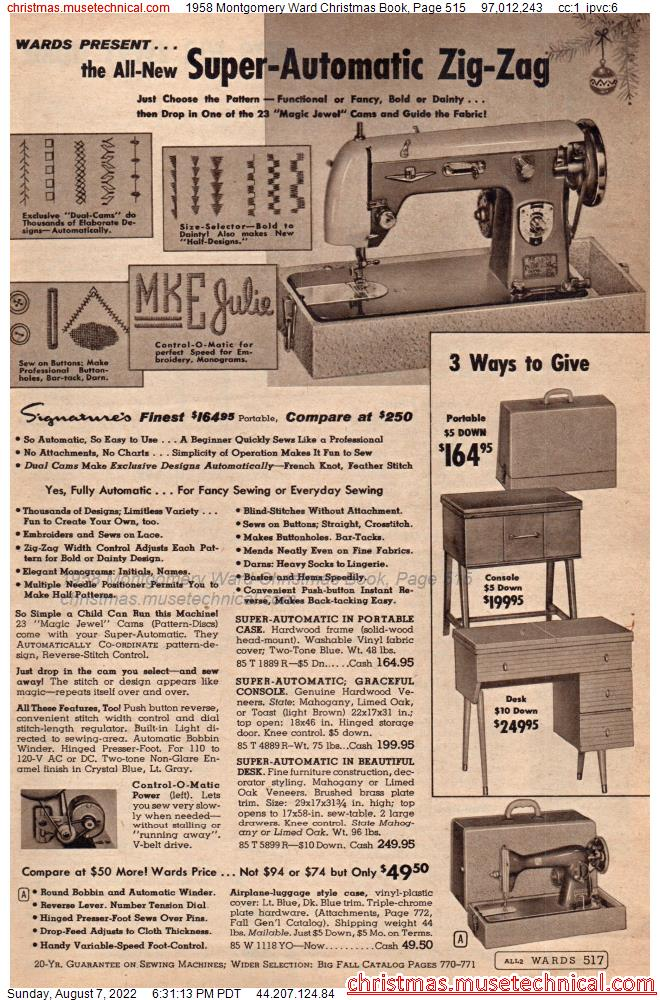 1958 Montgomery Ward Christmas Book, Page 515