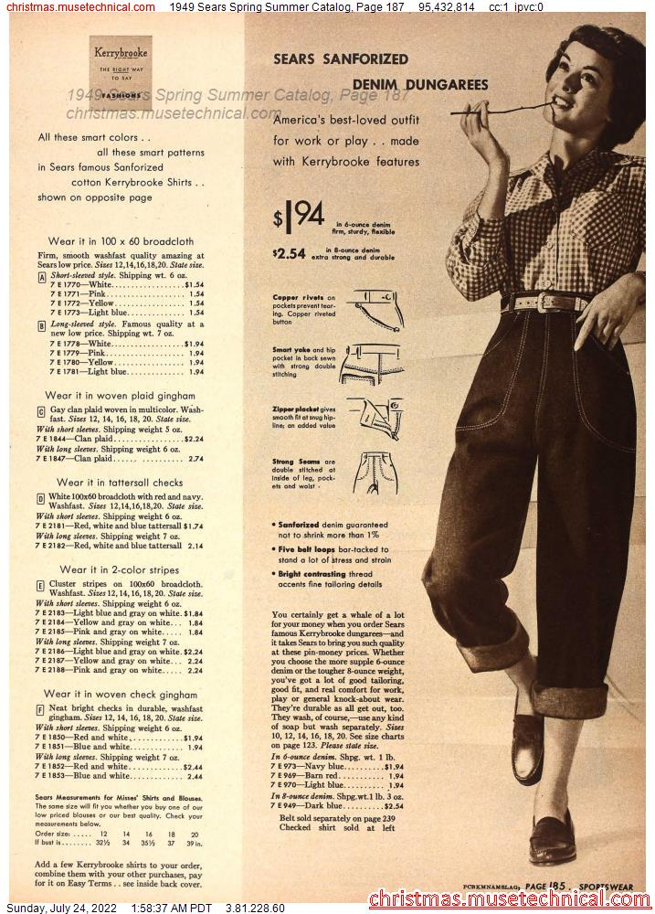 1949 Sears Spring Summer Catalog, Page 187