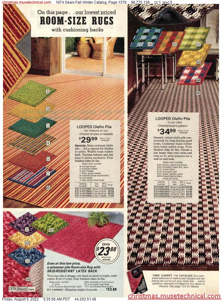 1974 Sears Fall Winter Catalog, Page 1378