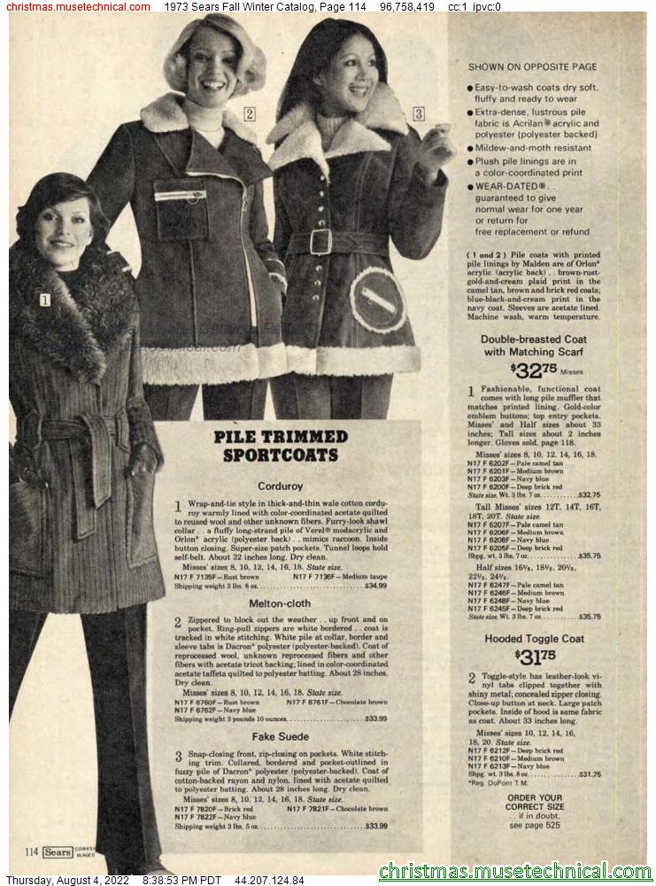 1973 Sears Fall Winter Catalog, Page 114