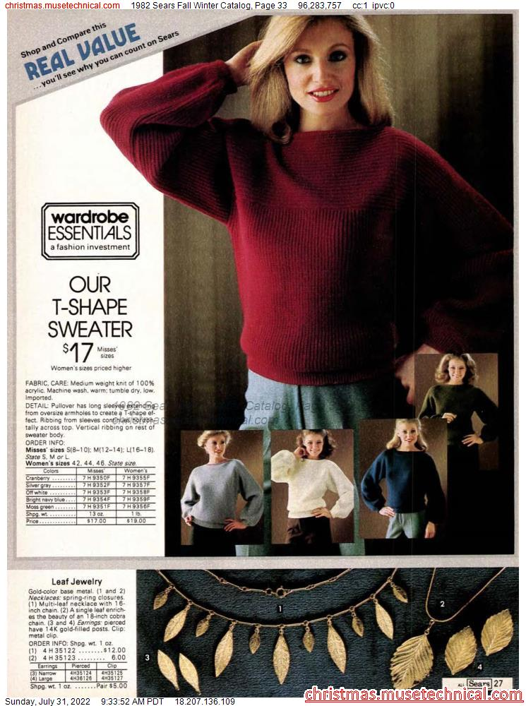 1982 Sears Fall Winter Catalog, Page 33