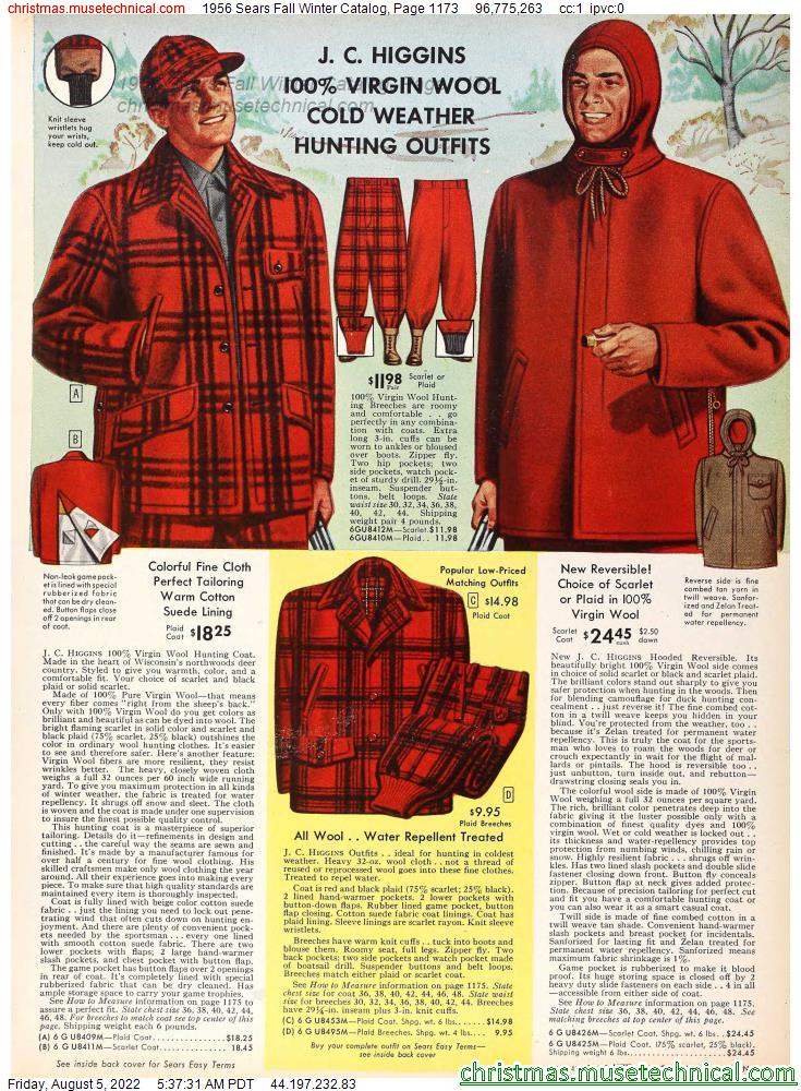 1956 Sears Fall Winter Catalog, Page 1173