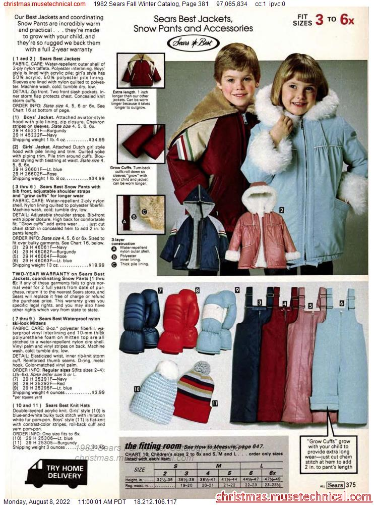 1982 Sears Fall Winter Catalog, Page 381