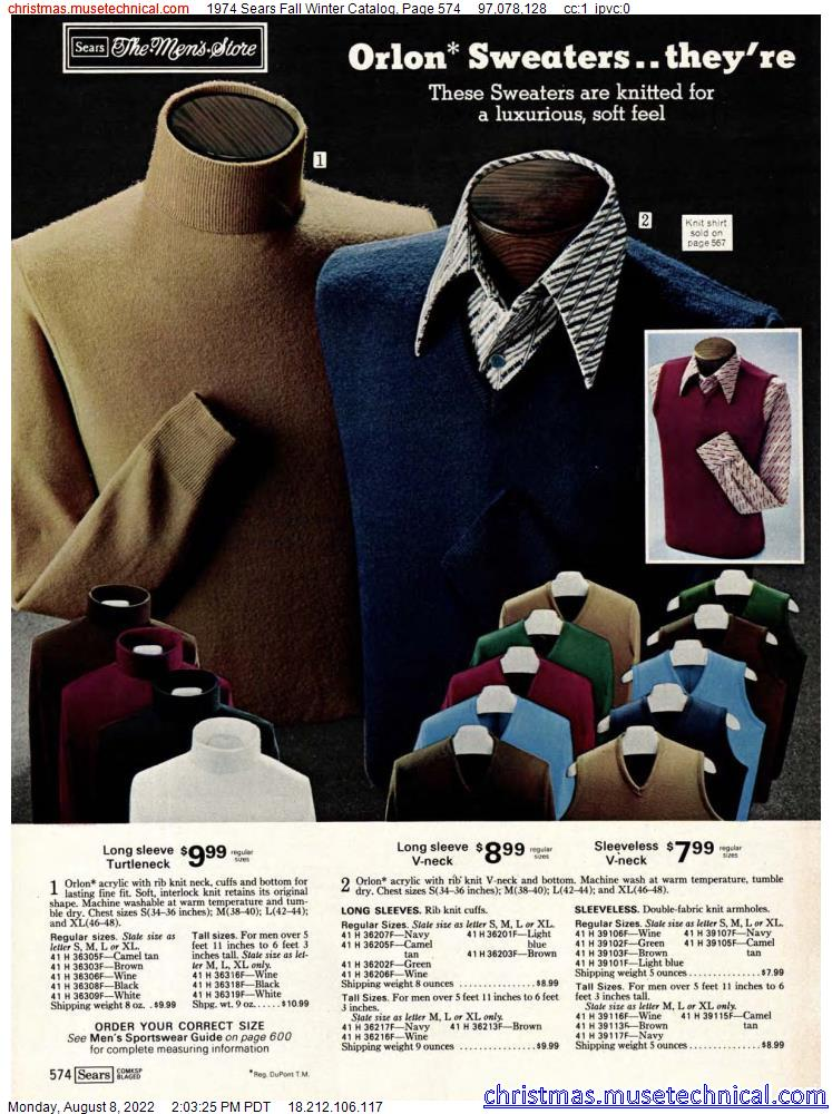 1974 Sears Fall Winter Catalog, Page 574