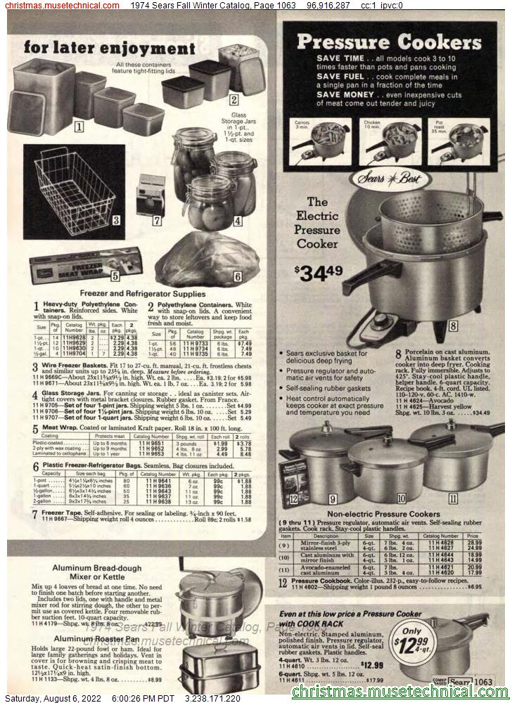 1974 Sears Fall Winter Catalog, Page 1063