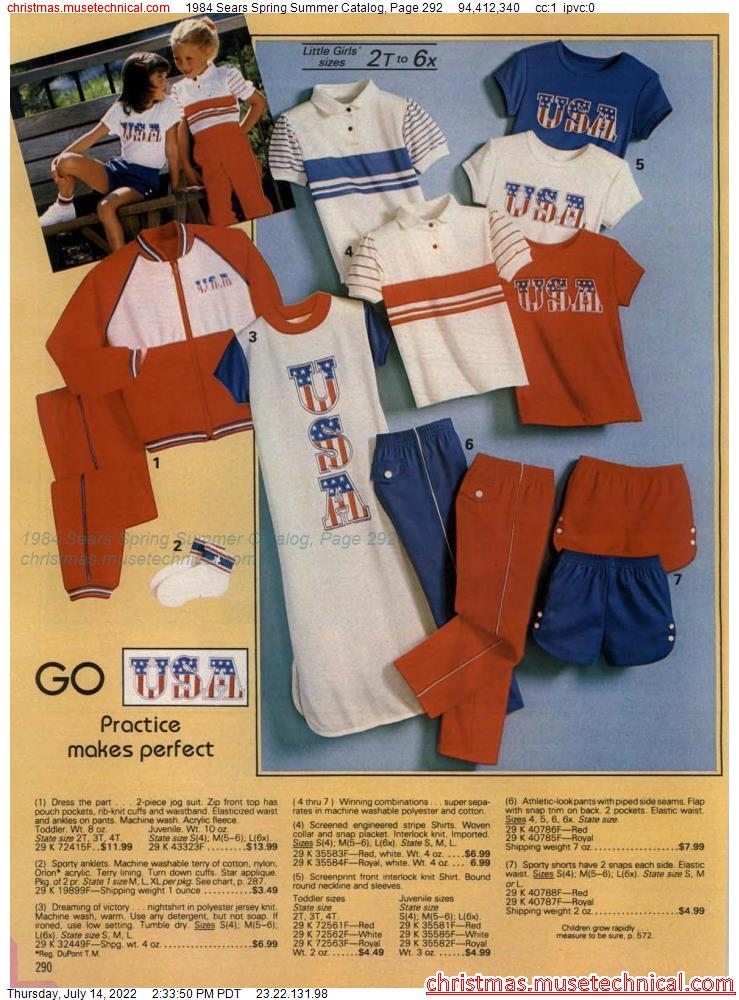 1984 Sears Spring Summer Catalog, Page 292