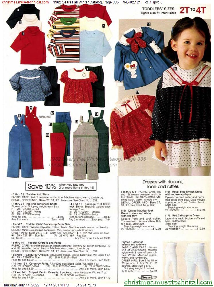 1982 Sears Fall Winter Catalog, Page 335