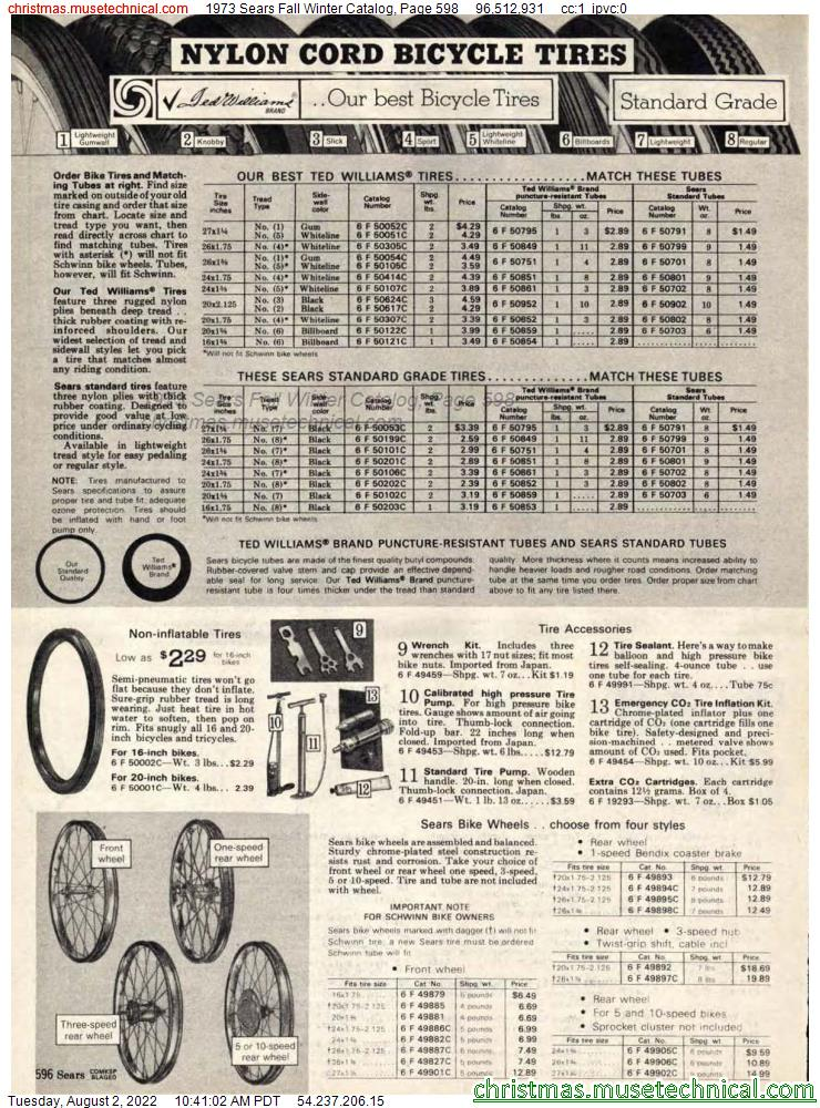 1973 Sears Fall Winter Catalog, Page 598