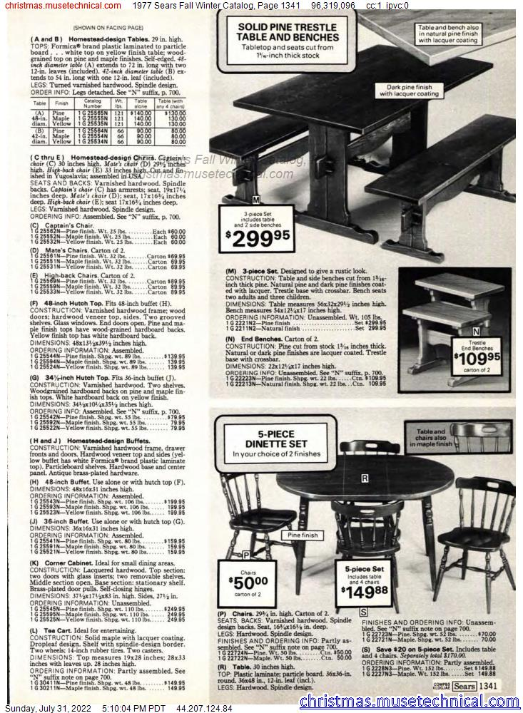 1977 Sears Fall Winter Catalog, Page 1341