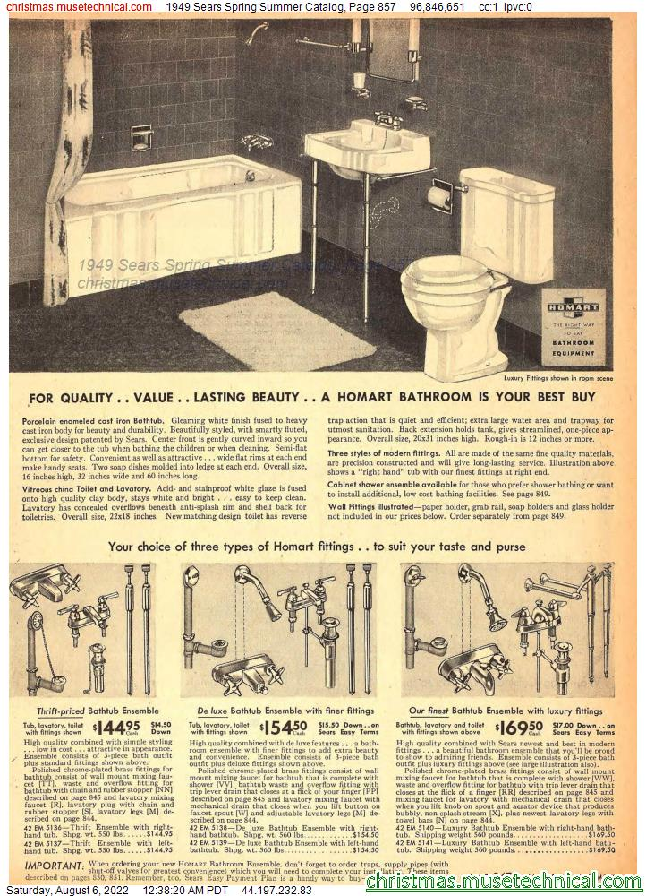 1949 Sears Spring Summer Catalog, Page 857