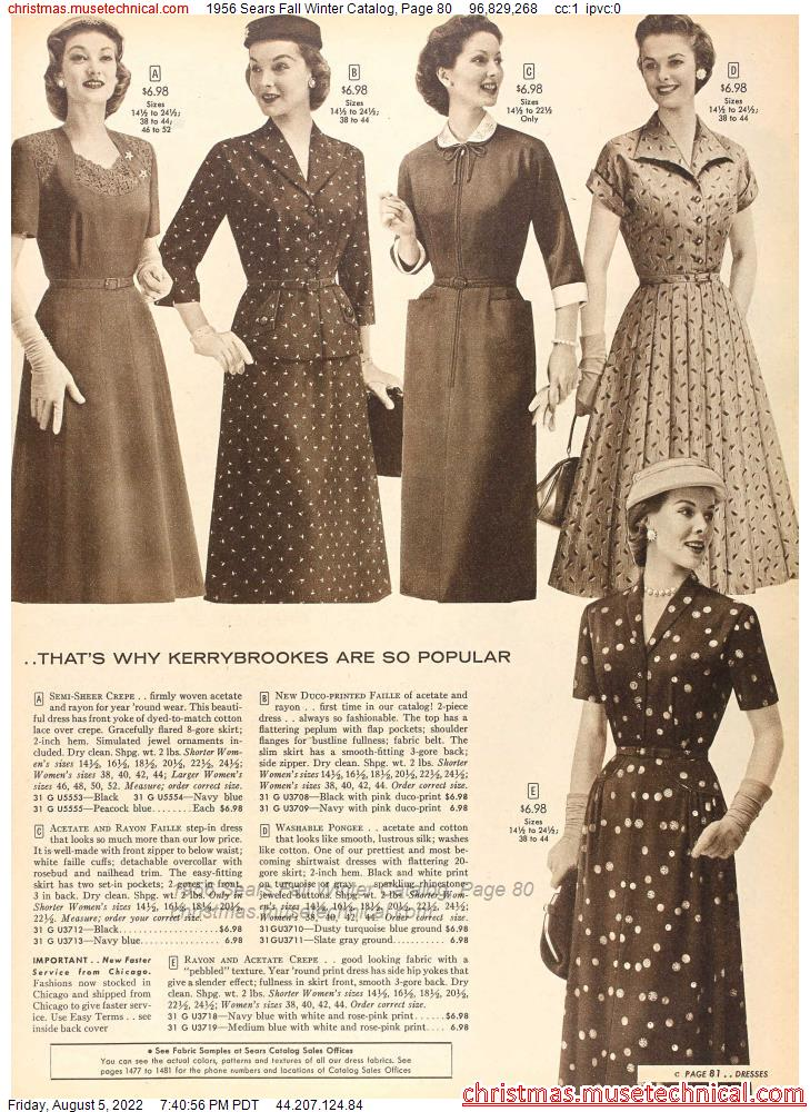 1956 Sears Fall Winter Catalog, Page 80