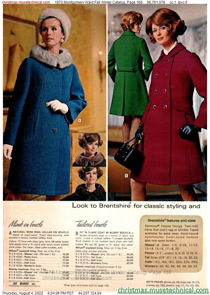 1970 Montgomery Ward Fall Winter Catalog, Page 168