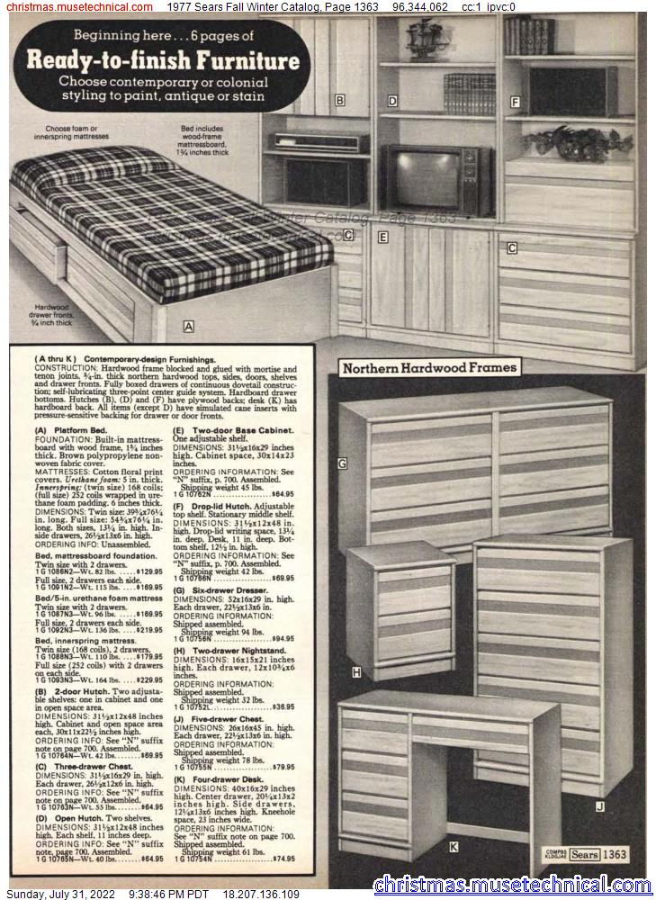 1977 Sears Fall Winter Catalog, Page 1363
