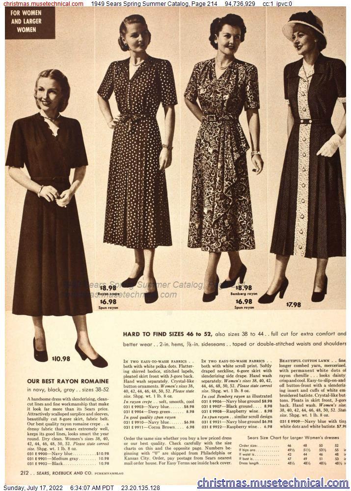 1949 Sears Spring Summer Catalog, Page 214