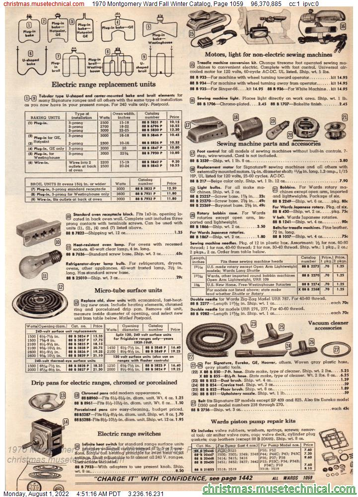 1970 Montgomery Ward Fall Winter Catalog, Page 1059