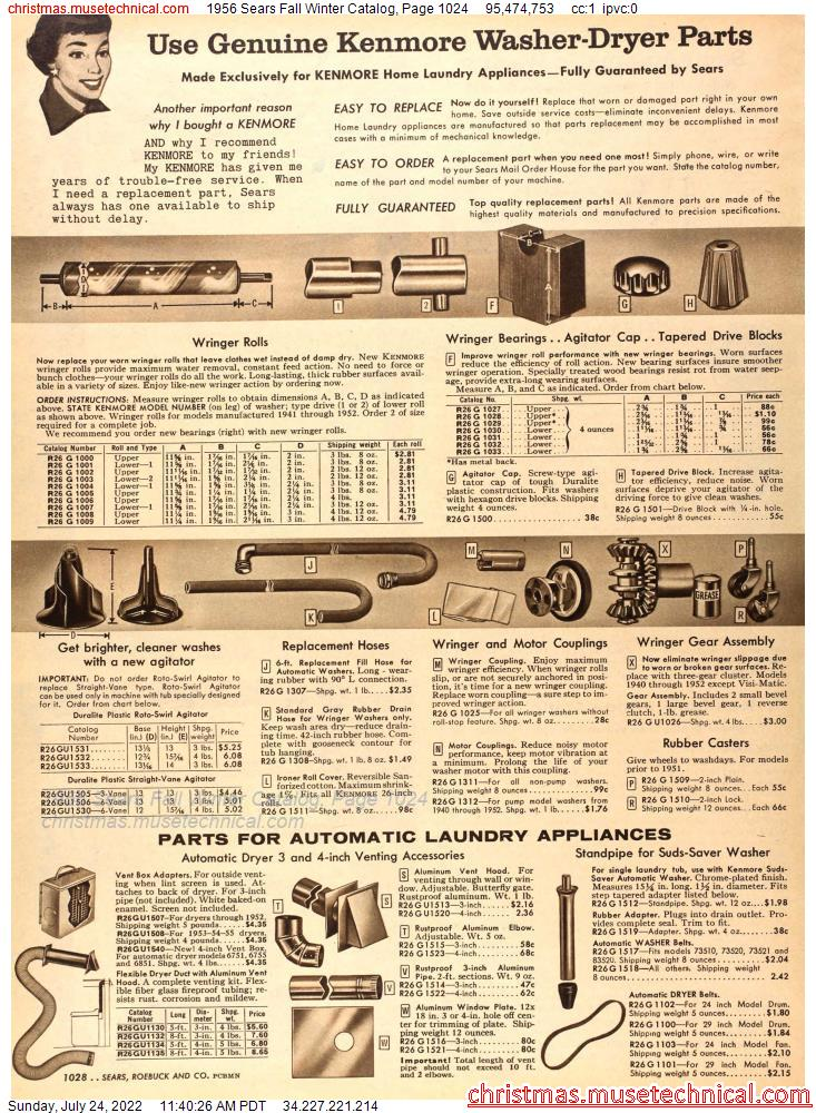 1956 Sears Fall Winter Catalog, Page 1024