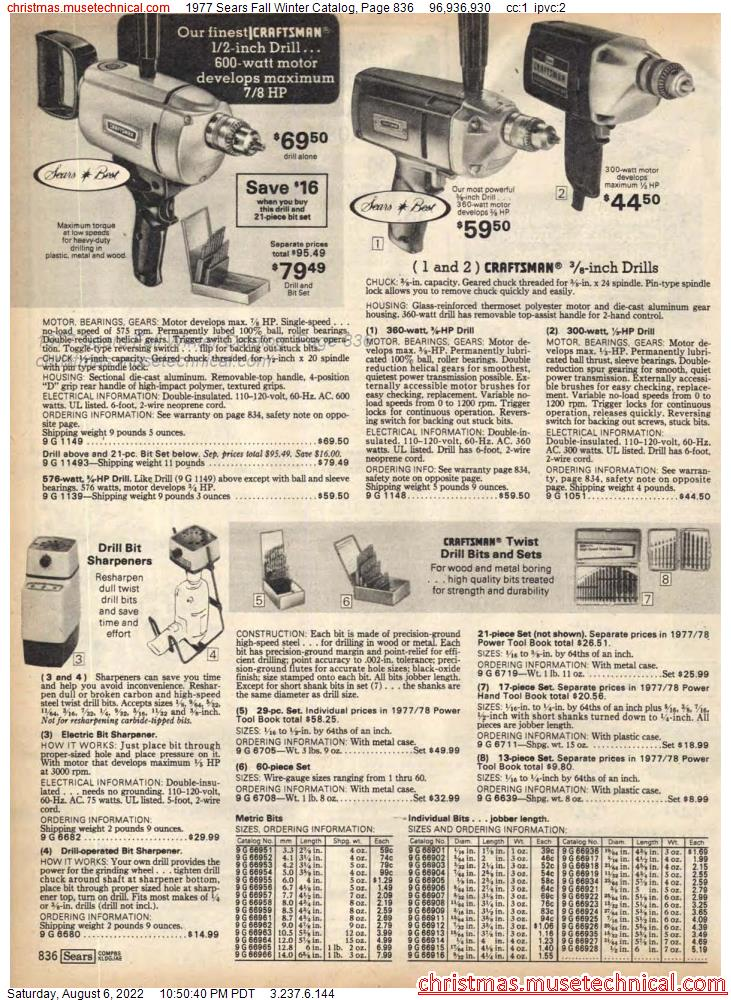 1977 Sears Fall Winter Catalog, Page 836